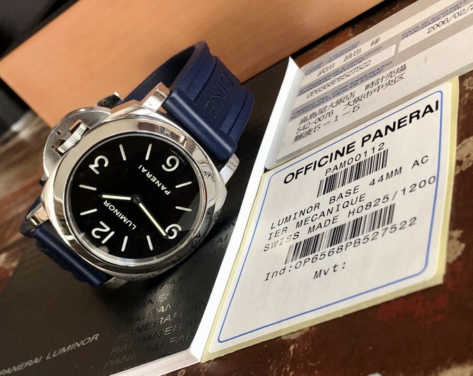 Panerai Luminor Base 44m Rubber PAM00112 PAM 1112 Mens used 2006 watch + Box Full Set Box Papers Cards