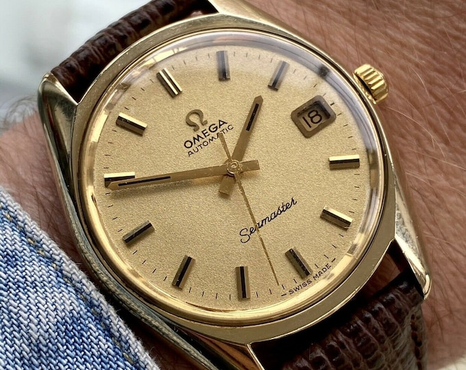 Omega Seamaster Beefy Lug 1971 Gold Leather Mens Vintage Automatic Swiss watch