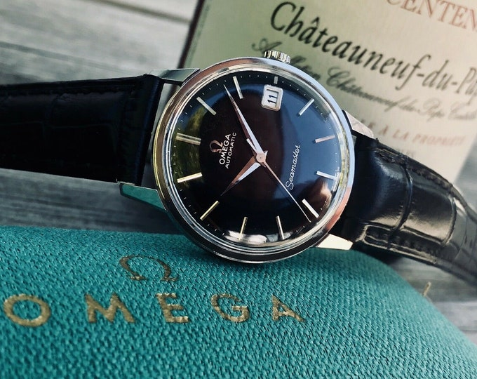 Omega 1960 - 1969 Mens rare Seamaster Black Dial Face vintage Steel Automatic Mechanical Mens Watch  + Vintage green Box