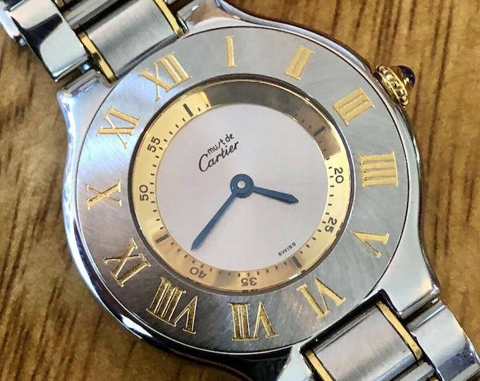 Cartier Must De 21 30mm Midsize Bezel Quartz womens Gold steel watch + Box