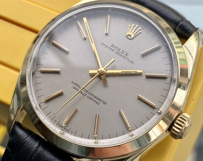 Rolex 1970 Oyster Perpetual Ref 1024 Automatic Mens Vintage gold plated serviced February 2021 watch + Box