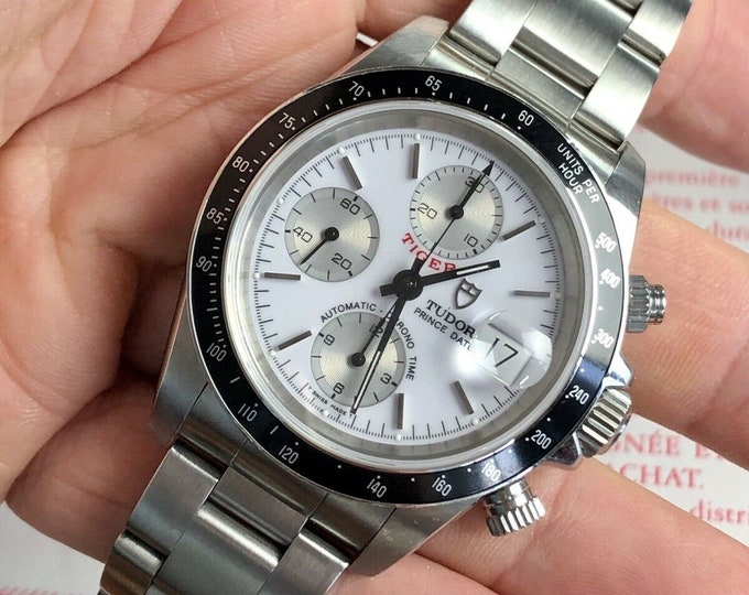 Tudor Tiger Woods Prince Date Full Set Rolex Daytona White Dial Silver Mens 40mm paper steel White Dial Ref 79280 1999 watch + Box  + Papers