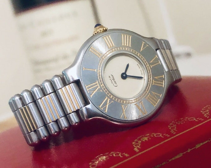 Cartier Must De Cartier 21 lady womes bi-metal gold and steel watch + Box
