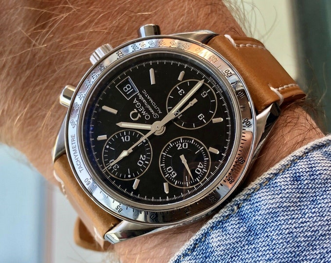 Omega Speedmaster Steel Bracelet + Leather 3513.50 Black Dial Mens 38mm Automatic box watch Full Set + Box