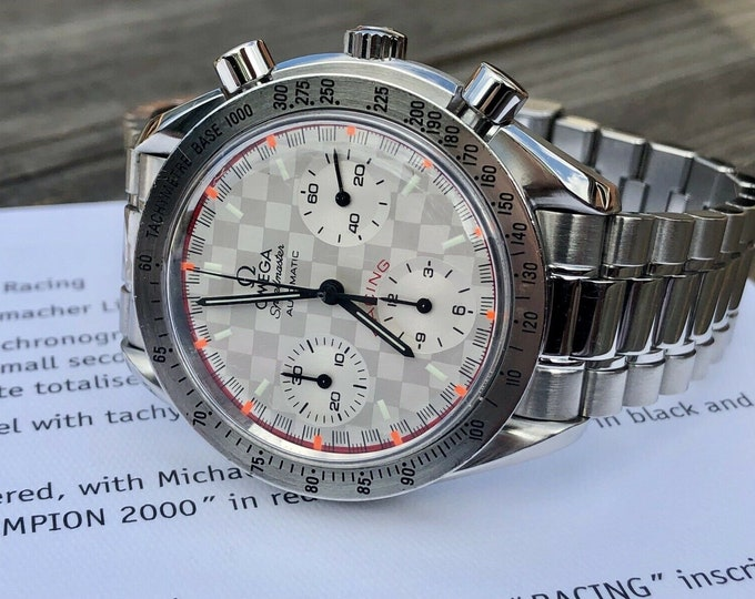Omega Speedmaster Checkered Dial Men's chronograph reduced Automatic Michael Schumacher F1 Limited edition 539/4000 3517.30.00 watch + Box