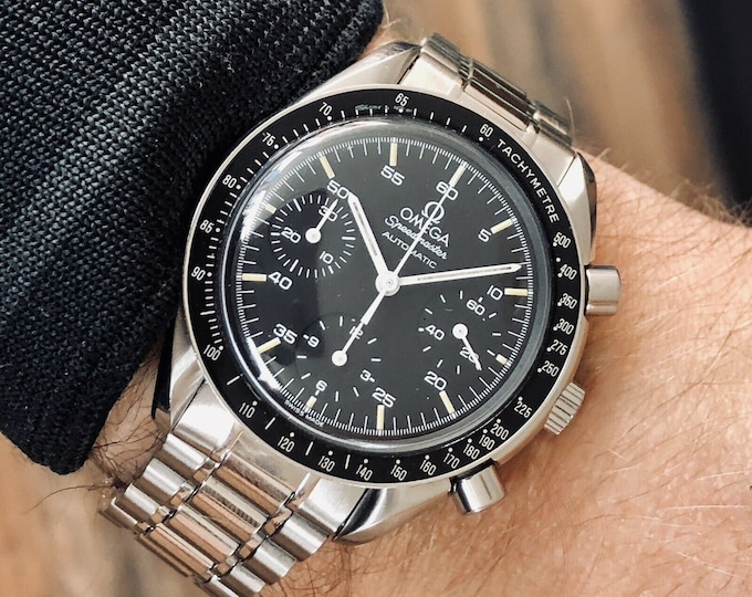 Omega Speedmaster 38mm Reduced Black Dial Automatic Chronograph Stainless Steel used semu vintage watch + Box