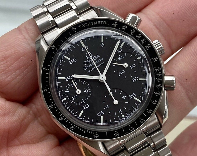Omega Speedmaster 1999 Black Dial Men's reduced 38mm Automatic semi vintage watch card / papers + Box
