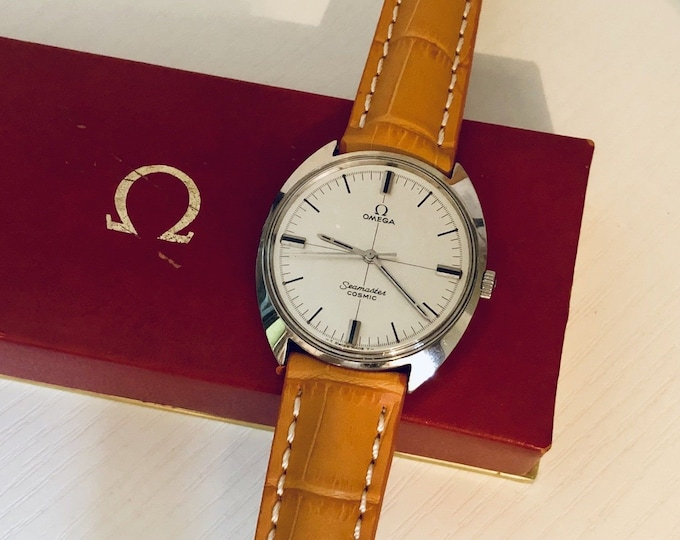 Omega Men's Vintage 1966 Mens Mechanical Original Crosshair Dial Seamaster Cosmic Steel gents Watch CAL 601 Cal 17 jewels + Box