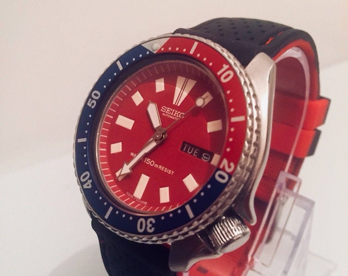 SEIKO 150M Scuba Diver Day Date Automatic mens watch 6309-7290 Red Blue Dial Pepsi bezel