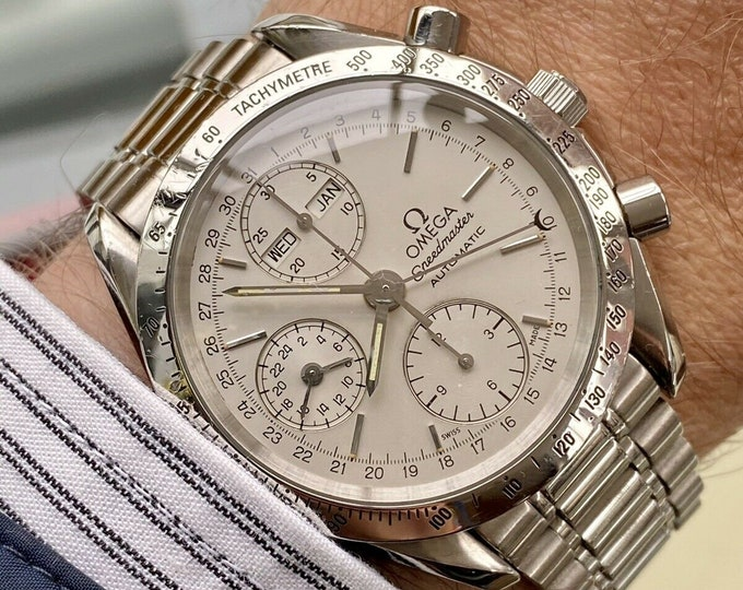 Omega Speedmaster White Triple date Dial Men's Date reduced 38mm Automatic Full Set 1996 Chronograph watch + Box