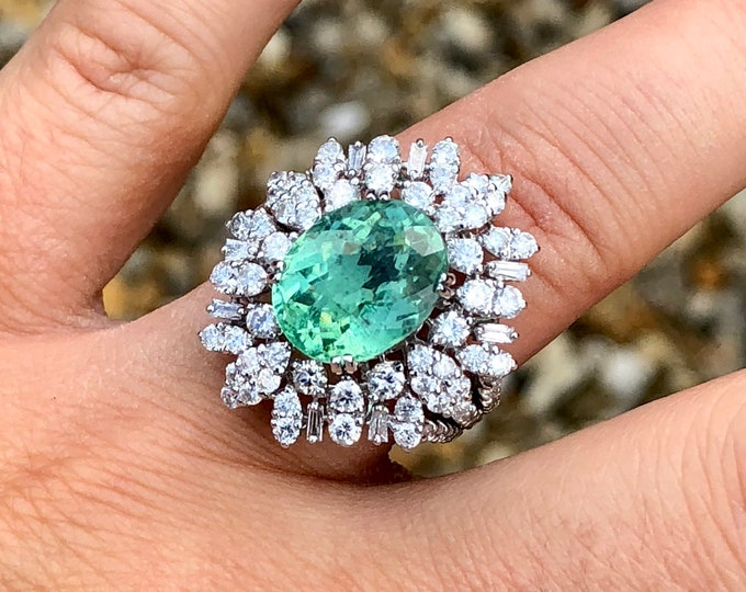 5.41ct Paraiba Tourmaline & G Colour Diamonds 2.00ct Ring GIA certified 18K solid white gold