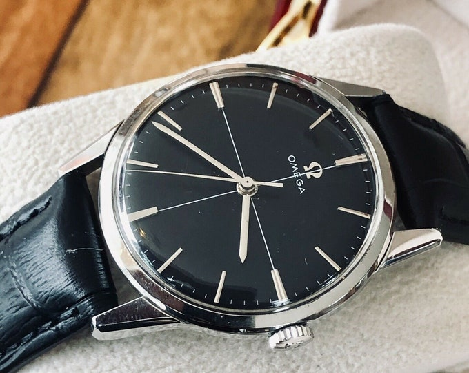 Omega vintage Steel Ryan Gosling 1959 Black Dial Crosshair second hand gents La La Land watch + box