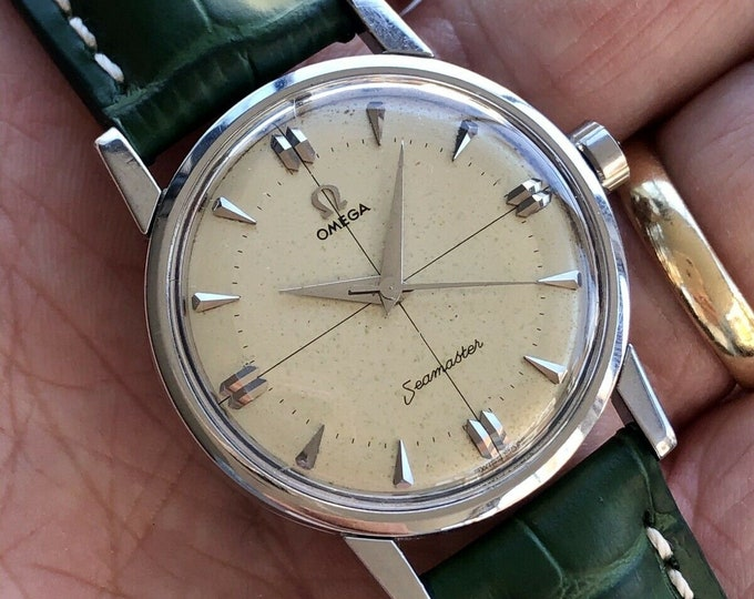 Omega Seamaster Men Vintage Crosshair Dial Steel Caliber 520 1958 Serviced August 2020 watch