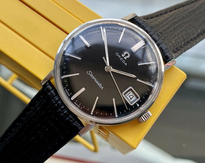 Omega Seamaster Leather Black Dial Date Calendar Mens Vintage Automatic 1966 watch Serviced May 2021 watch