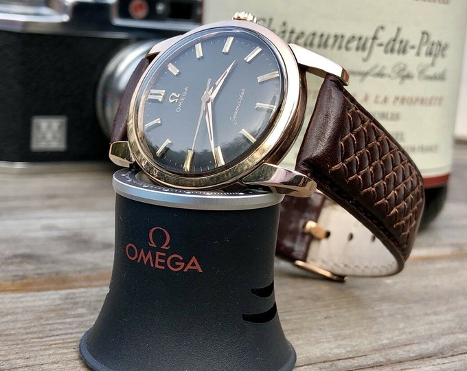 Omega Mens Seamaster 1960s Rose Pink Gold Capped Black dial second hand vintage Watch Automatic 1960s luxury leather band strap + Box