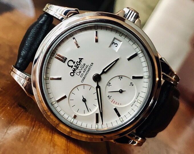 Omega De Ville 35mmm Steel Silver Power Reserve Co-Axial Automatic Mens watch Full Set + Box