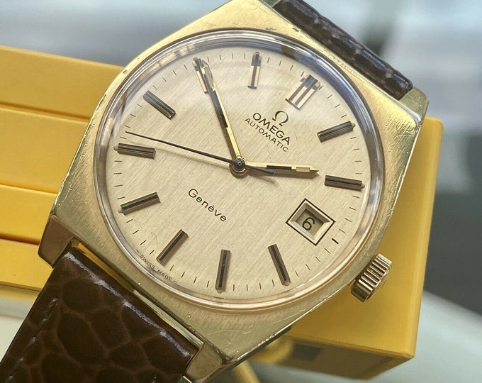 Omega Date 1973 vintage Geneve Plated Gold Mens Automatic Serviced May 2021 watch