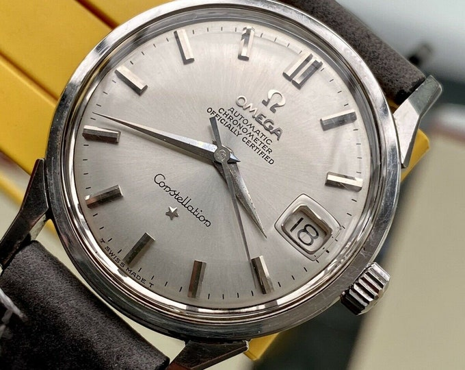 Omega Constellation Automatic vintage Leather mens 1962 Grey Dial serviced watch + Box