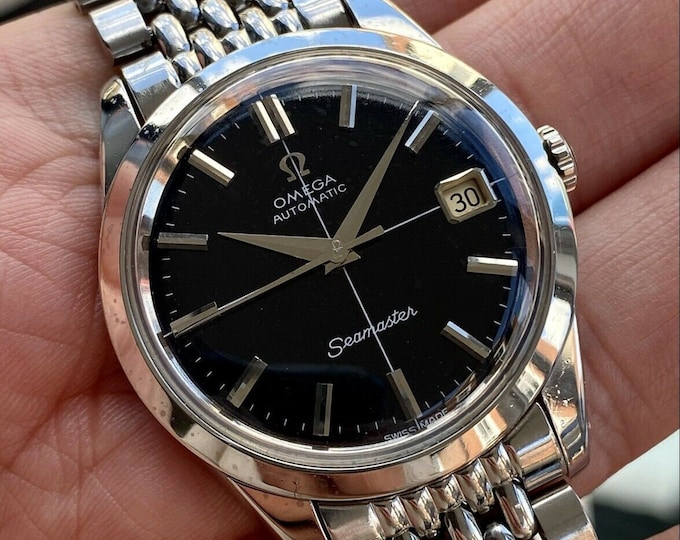 Omega Seamaster Beads Rice Bracelet Black Dia Vintage Steel Men Automatic serviced April 2021 watch