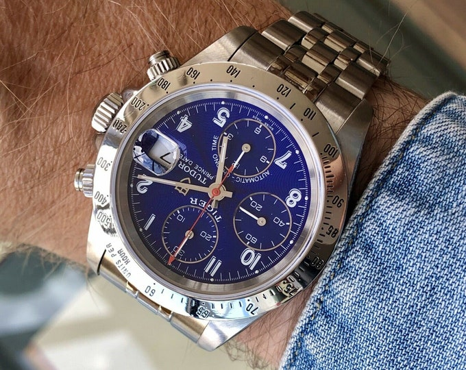 Tudor Tiger Full Set Blue Dial Box Papers Men Reference 79230 steel Prince Date 40mm steel Paul Newman watch + Box  + Papers