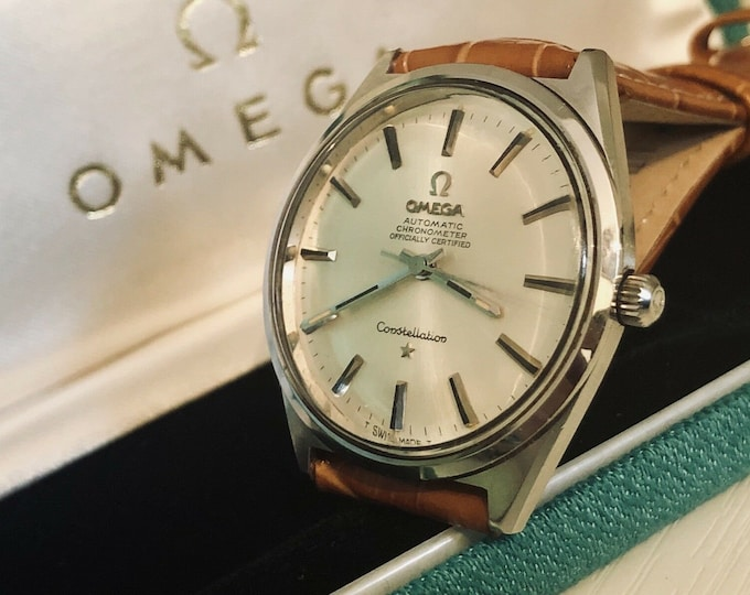Omega vintage Steel Constellation 1960s Automatic Chronometer second hand gents watch + box