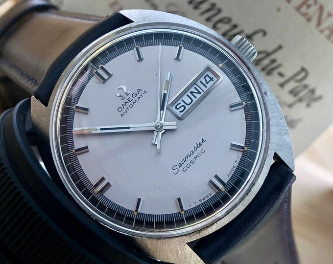 Omega Seamaster Cosmic Automatic Date Grey Dial Day Date vintage men 60s second hand used retro 1967 watch + Box