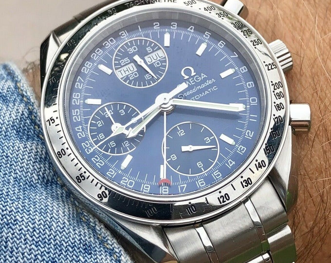 Omega Speedmaster 2008 Full Set 2008 Blue Triple dial date Dial Men's Stainless Steel Automatic Ref 3523 Calibre 1151 watch + Box