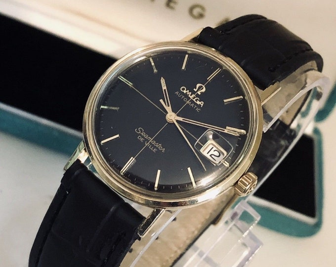 Omega Seamaster De Ville vintage watch Mechanical Automatic cal 563 14K Gold black dial crosshair Date 1960s used second hand + Mint Box