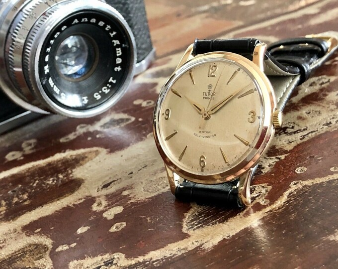 """Tudor Rolex Prince Solid 9K Gold Mens 1960 vintage dress Automatic Original """" SMILEY """" dial used watch + Box"""