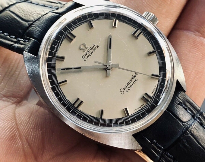 Omega Seamaster Cosmic Automatic Steel Blue Dial vintage mens 1967 Ref 165026 watch + Box