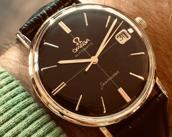 Omega Seamaster 14K Gold Automatic Crosshair black dial vintage mens 1962 watch
