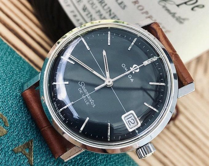 Omega Mens Seamaster De Ville Black Dial Crosshair Black Dial 1960s Mens unisex 33mm watch
