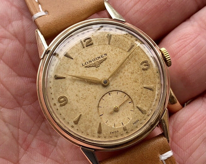 Longines Sub Seconds used Hand Winding 9K solid gold Leather Serviced September 2020 + Original Box