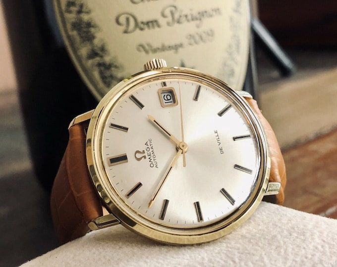 Omega vintage 1960s Mens vintage watch De Ville Automatic Gold Plated mens watch + Box