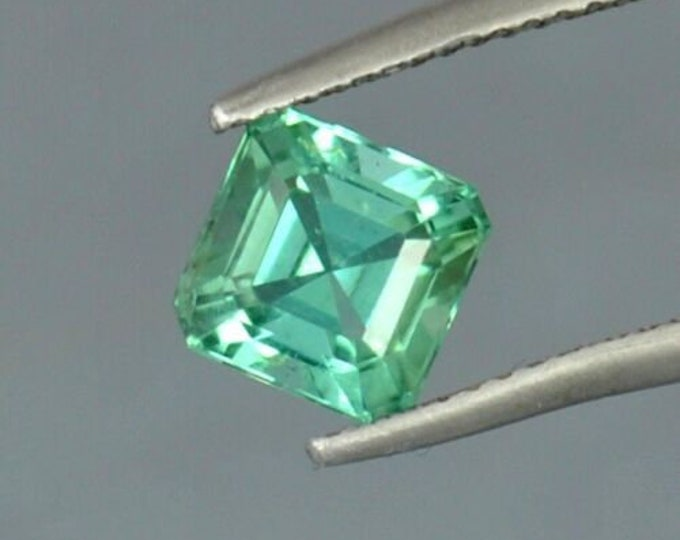 1.90 Ct FLAWLESS Green Asscher cut Tourmaline Gemstone 8mm x 6mm paraiba origin Paach Mine, Pakistan - very near the Kashmir border