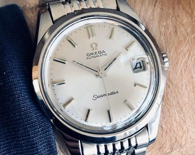 Omega Mens Seamaster Steel vintage Mens watch Rice Omega bracelet 1968 + Box