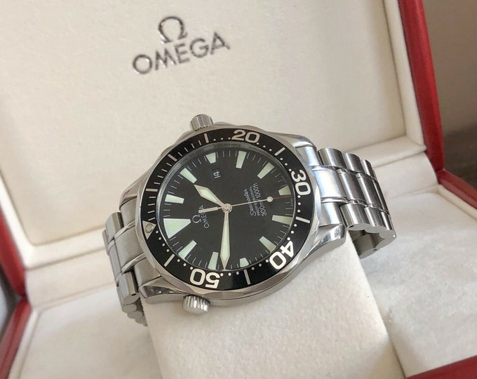 Omega Seamaster 300m Black Dial Quartz Battery Full set papers mens watch + Box