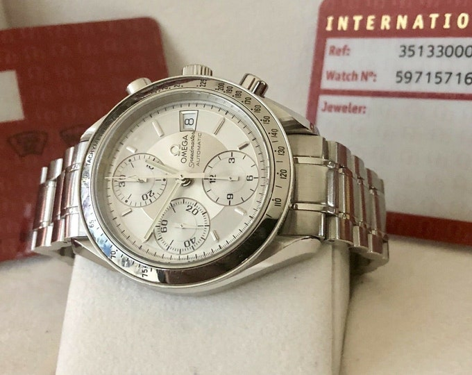 Omega Speedmaster Silver Grey Dial Men's Date reduced 38mm Automatic watch + Box