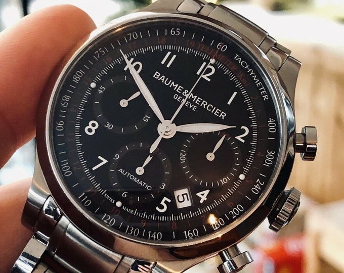 Baume and Mercier black dial Capeland Chronograph 42mm Mens watch Automatic wristwatch + Box