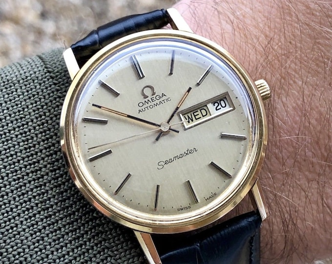 Omega Men's Seamaster Day Date calendar Cal 1022 1970s Mechanical movement gold plated mens watch + Box