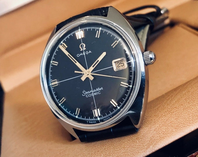 Omega Mens 1960 - 1969 Seamaster Cosmic Black Dial Crosshair Face vintage watch Date Mechanical gents clock + box