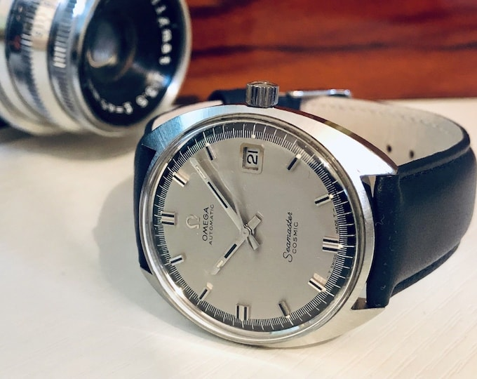 Omega Mens 1967 Seamaster Cosmic Navy Grey Dial Face vintage watch Date Mechanical gents clock + box