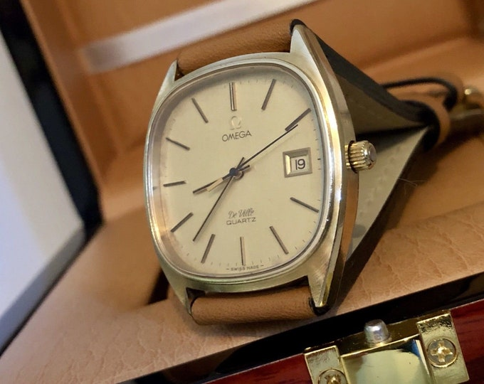 Omega Classic De Ville Mens Vintage watch Quartz 1977 cal 1342 Day Date Gold Plated Gents Wristwatch with new brown leather wristband + Box