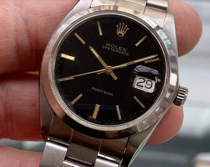 Rolex 1985 Oysterdate 6644 Black Dial Mechanical Mens Vintage watch Papers Box