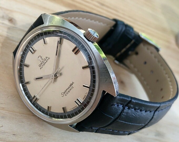 Omega Mens 1966 Calibre 552 Seamaster Cosmic Navy Dial Face vintage watch Automatic Mechanical gents clock + Box