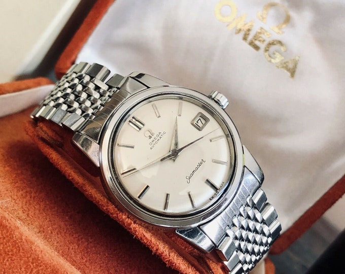 Omega Seamaster Stainless Steel Mens 1958 34.50mm size Vintage white dial Caliber 503 watch + Box and Papers