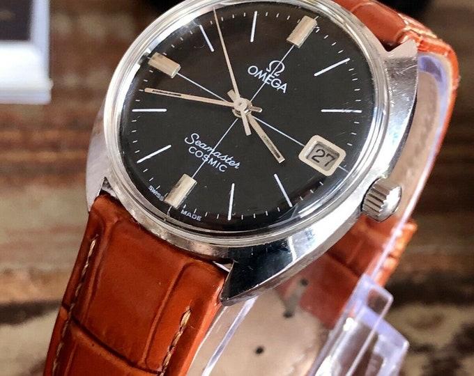 Omega Seamaster Cosmic Mechanical Calibre 613 Date Black Dial vintage mens 1967 watch + Box