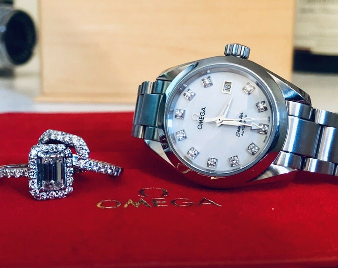 Omega Lady IF Diamonds Seamaster Aqua Terra Date silver dial steel Automatic 29mm dial stainless steel womens watch + Box