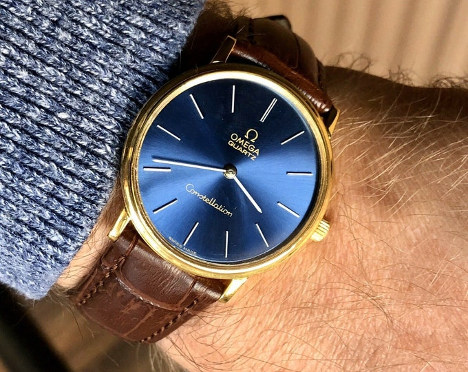 Omega Mens vintage Constellation Blue Dial Face Caliber 1330 Quartz 18K Gold Plated wristwatch gents 1977 watch + new strap