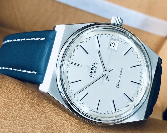 Omega Seamaster Vintage 1974 Serviced Automatic Calibre 1012 Steel Date Mens watch + Box